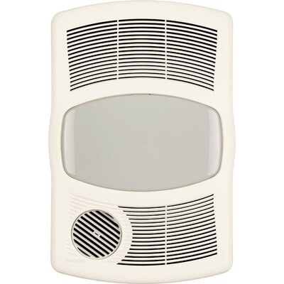 100 CFM Exhaust Bathroom Fan with Heater Bulb Type: Flourescent