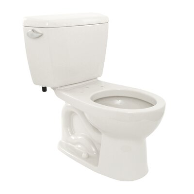Drake Eco 1.28 GPF Round Two-Piece Toilet Toilet Finish: Cotton, Trip Lever Orientation: Left-Hand