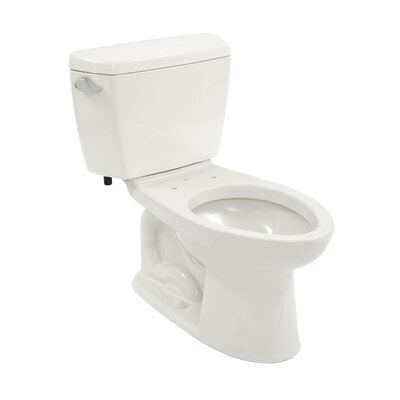 Drake Eco 1.28 GPF Elongated Two-Piece Toilet Toilet Finish: Cotton, Trip Lever Orientation: Right-Hand