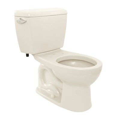Drake Eco 1.28 GPF Round Two-Piece Toilet Toilet Finish: Colonial White, Trip Lever Orientation: Left-Hand
