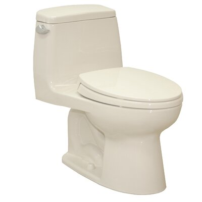 UltraMax Eco 1.28 GPF Elongated One-Piece Toilet Lever Location: Left-Hand, Finish: Sedona Beige