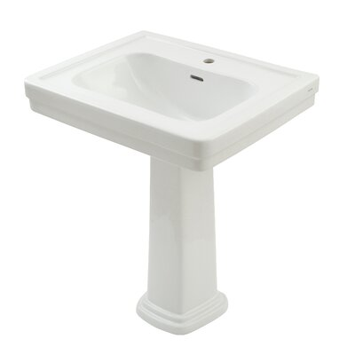 Promenade Vitreous China 35 Pedestal Bathroom Sink with Overflow Sink Finish: Cotton, Faucet Mount: Single Hole