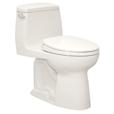UltraMax� Eco 1.28 GPF Elongated One-Piece Toilet Trip Lever Orientation: Left-Hand, Toilet Finish: Cotton - with SanaGloss
