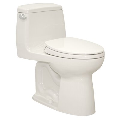 UltraMax� Eco 1.28 GPF Elongated One-Piece Toilet Trip Lever Orientation: Left-Hand, Toilet Finish: Colonial White