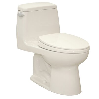 UltraMax Eco 1.28 GPF Elongated One-Piece Toilet Lever Location: Left-Hand, Finish: Colonial White