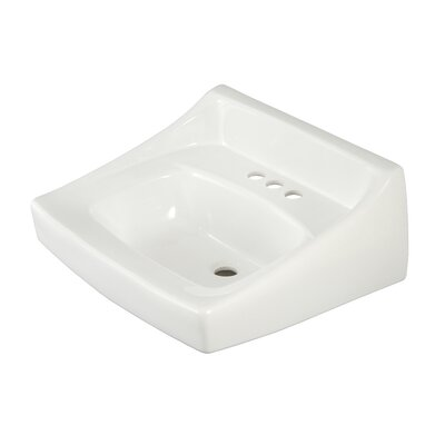 Commercial 21 Wall Mount Bathroom Sink with Overflow Sink Finish: Bone, Faucet Mount: 4 Centers