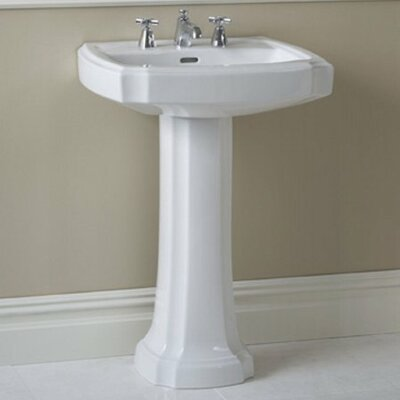 Guinevere Vitreous China 27 Pedestal Bathroom Sink with Overflow Sink Finish: Bone, Faucet Mount: 8 Centers