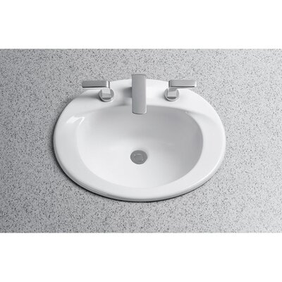 Supreme Ceramic Oval Drop-In Bathroom Sink with Overflow Sink Finish: Cotton, Faucet Mount: 8 Centers