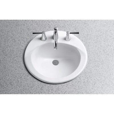Ultimate Ceramic Circular Drop-In Bathroom Sink with Overflow Sink Finish: Cotton, Faucet Mount: Single Hole