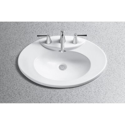Pacifica Ceramic Oval Drop-In Bathroom Sink with Overflow Sink Finish: Cotton, Faucet Mount: 8 Centers