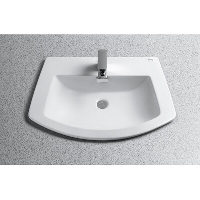 Soiree Ceramic Specialty Drop-In Bathroom Sink with Overflow Sink Finish: Cotton, Faucet Mount: Single Hole