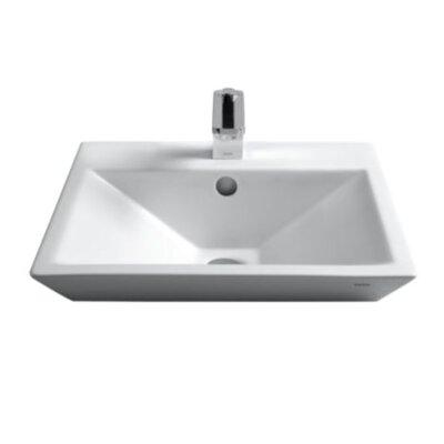 Kiwami Ceramic Square Vessel Bathroom Sink with Faucet Faucet Mount: 8 Center