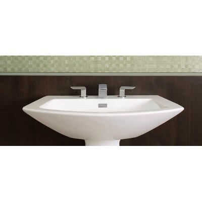 Soiree Ceramic 26 Pedestal Bathroom Sink with Overflow Sink Finish: Cotton, Faucet Mount: 8 Center