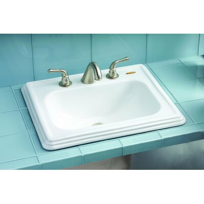 Promenade Ceramic Rectangular Drop-In Bathroom Sink with Overflow Sink Finish: Colonial White, Faucet Mount: 8 Centers