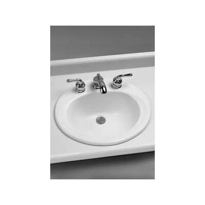 Ceramic Oval Drop-In Bathroom Sink with Overflow Faucet Mount: 8 Centers