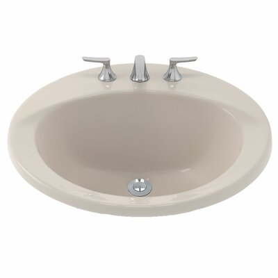 Ultimate Ceramic Circular Drop-In Bathroom Sink with Overflow Sink Finish: Sedona Beige, Faucet Mount: 8 Centers