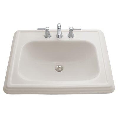 Promenade Ceramic Rectangular Drop-In Bathroom Sink with Overflow Sink Finish: Bone, Faucet Mount: 8 Centers
