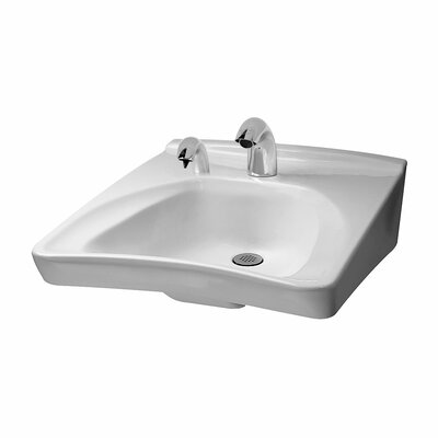 Commercial 21 Wall Mount Bathroom Sink with Overflow Sink Finish: Cotton, Faucet Mount: 4 Centers