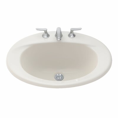 Supreme Ceramic Oval Drop-In Bathroom Sink with Overflow Sink Finish: Sedona Beige, Faucet Mount: Single Hole