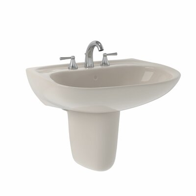 Prominence Ceramic 26 Pedestal Bathroom Sink with Overflow Faucet Mount: 8 Centers, Sink Finish: Sedona Beige