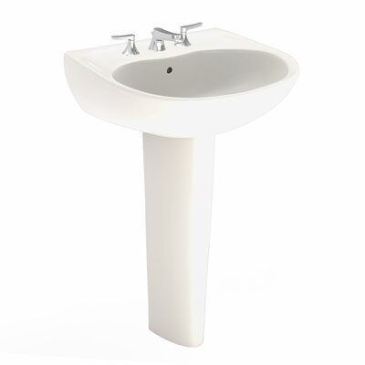 Supreme 22 Wall Mount Bathroom Sink with Overflow Sink Finish: Sedona Beige, Faucet Mount: 8 Centers