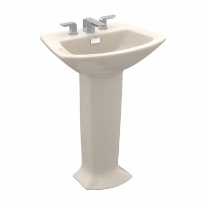 Soiree Ceramic 26 Pedestal Bathroom Sink with Overflow Sink Finish: Bone, Faucet Mount: 8 Center