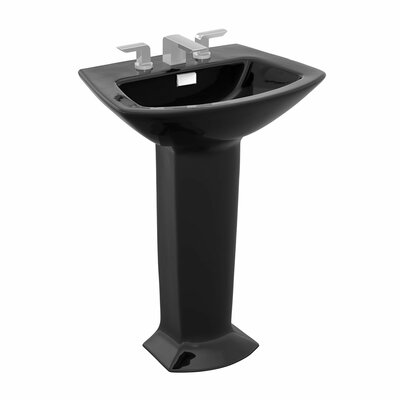 Soiree 25 Pedestal Bathroom Sink with Overflow Sink Finish: Ebony, Faucet Mount: Single Hole
