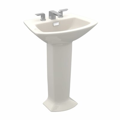 Soiree Ceramic 26 Pedestal Bathroom Sink with Overflow Sink Finish: Sedona Beige, Faucet Mount: 8 Center