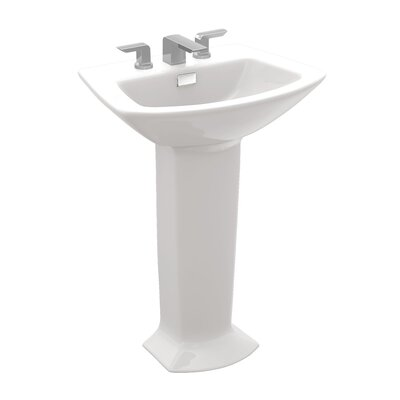 Soiree Ceramic 26 Pedestal Bathroom Sink with Overflow Sink Finish: Colonial White, Faucet Mount: 8 Center