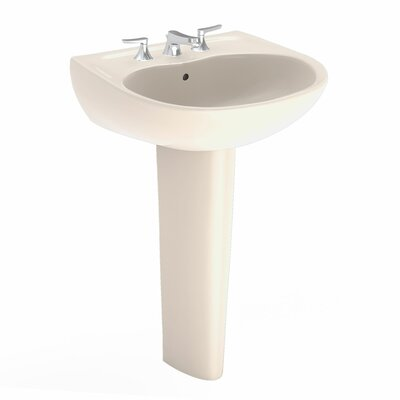 Supreme 22 Wall Mount Bathroom Sink with Overflow Sink Finish: Bone, Faucet Mount: 8 Centers