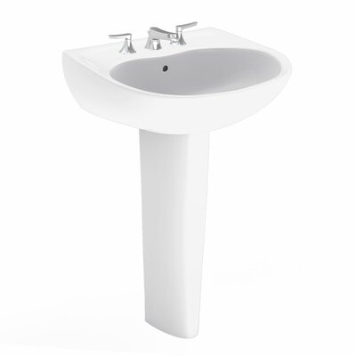 Supreme 22 Wall Mount Bathroom Sink with Overflow Sink Finish: Colonial White, Faucet Mount: 4 Centers