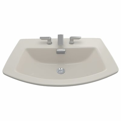 Soiree Ceramic Specialty Drop-In Bathroom Sink with Overflow Sink Finish: Sedona Beige, Faucet Mount: Single Hole