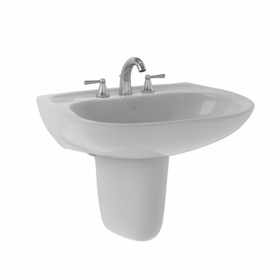 Prominence 26 Wall Mount Bathroom Sink with Overflow Sink Finish: Colonial White, Faucet Mount: 4 Centers