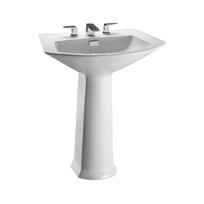 Soiree Vitreous China 26 Pedestal Bathroom Sink with Overflow Sink Finish: Bone, Faucet Mount: 8 Centers