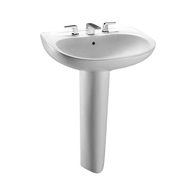 Prominence Vitreous China 26 Pedestal Bathroom Sink with Overflow Sink Finish: Cotton, Faucet Mount: 8 Centers