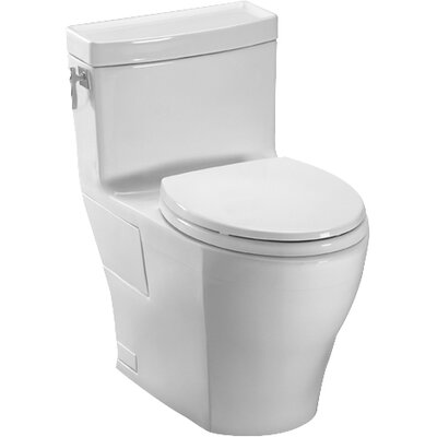 Aimes High Efficiency 1.28 GPF Elongated One-Piece Toilet Toilet Finish: Cotton