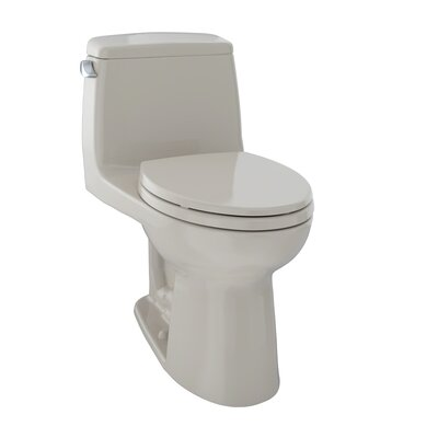UltraMax� Eco 1.28 GPF Elongated One-Piece Toilet Trip Lever Orientation: Left-Hand, Toilet Finish: Bone