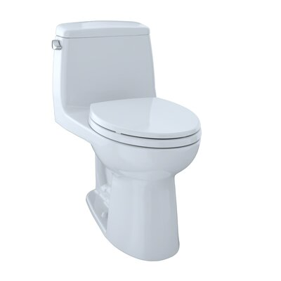 UltraMax� Eco 1.28 GPF Elongated One-Piece Toilet Lever Location: Left-Hand, Finish: Cotton with SanaGloss