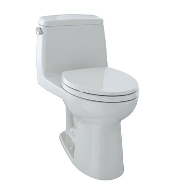 UltraMax� Eco 1.28 GPF Elongated One-Piece Toilet Lever Location: Left-Hand, Finish: Colonial White
