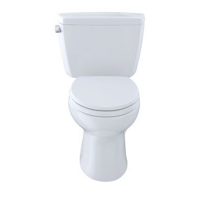 Drake ADA Compliant 1.6 GPF Elongated Two-Piece Toilet Finish: Cotton, Lever Location: Left