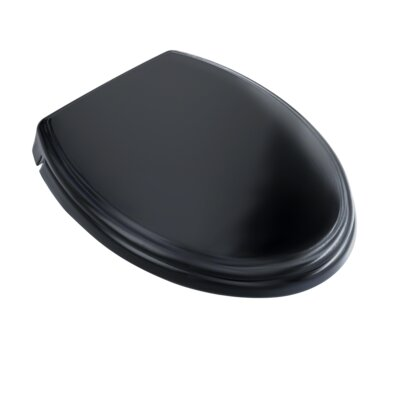 SoftClose Elongated Edged Lid Toilet Seat Seat Finish: Ebony