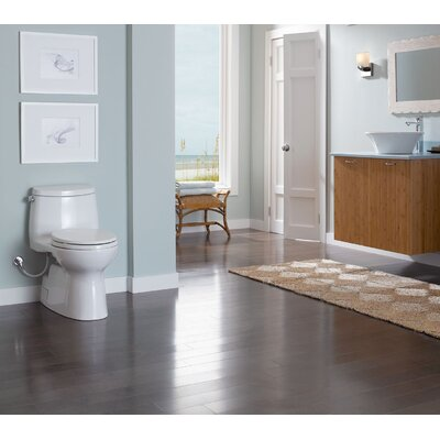 Carlyle 1.28 GPF Elongated One-Piece Toilet Finish: Colonial White, Lever Location: Left-Hand