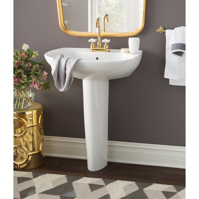 Prominence Vitreous China 26 Pedestal Bathroom Sink with Overflow Sink Finish: Sedona Beige, Faucet Mount: 8 Centers
