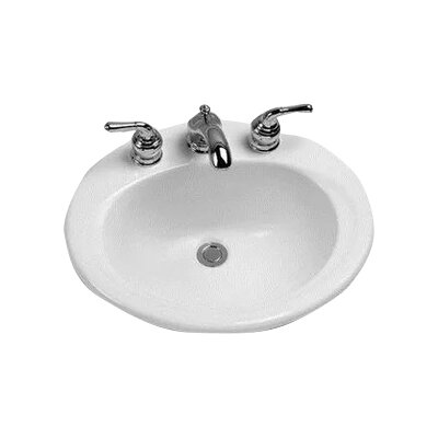 Ceramic Oval Drop-In Bathroom Sink with Overflow Faucet Mount: Single Hole