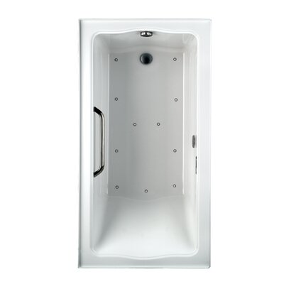 Clayton Tile 60 x 32 Air Bathtub Configuration: Left Keypad, Color: Cotton and Chrome, Drain Location: Right