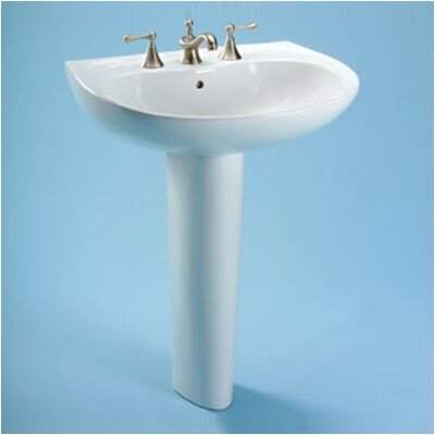 Prominence 19 Pedestal Bathroom Sink with Overflow Faucet Mount: 4 Centers, Sink Finish: Cotton
