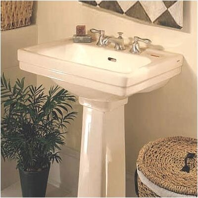 Promenade Vitreous China 24 Pedestal Bathroom Sink with Overflow Sink Finish: Sedona Beige, Faucet Mount: 8 Centers