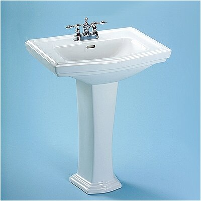 Clayton Ceramic 27 Pedestal Bathroom Sink with Overflow