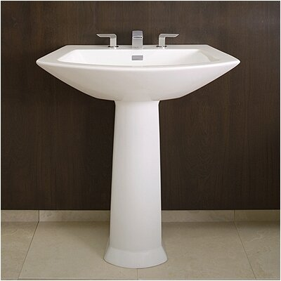 Soiree Ceramic 34 Pedestal Bathroom Sink with Overflow
