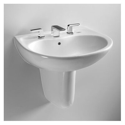 Prominence Vitreous China 26 Wall Mount Bathroom Sink with Overflow Sink Finish: Cotton, Faucet Mount: 4 Centers